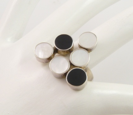 "Bague  "" Tifany "" Ajustable,  Argent, Onyx & Nacre blanche"